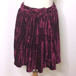 Zara Girls Crushed Velvet Pleated oxblood skirt
